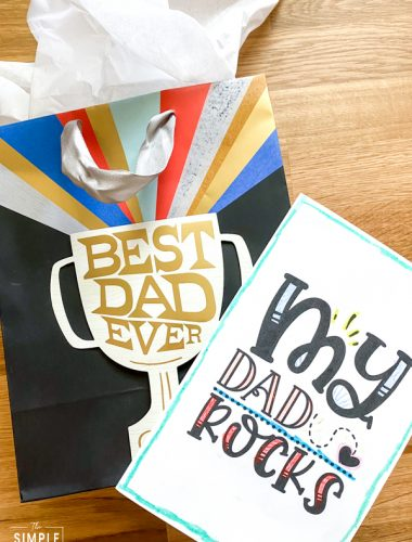 Printable Father's Day Card to Color with gift bag
