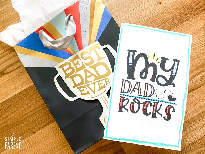 Father's Day gift back with printable Father's Day card