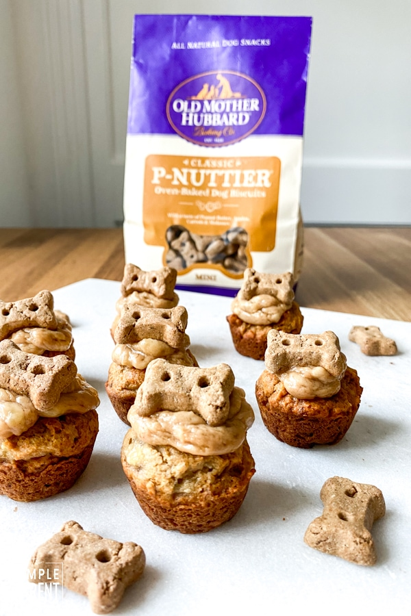Pupcakes topped with Old Mother Hubbard dog snacks