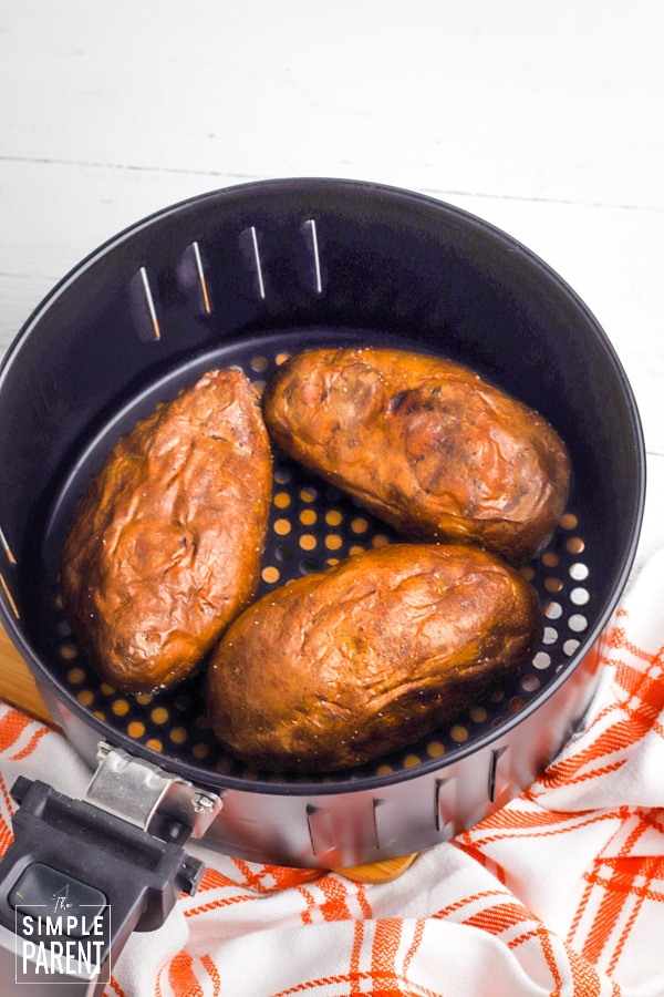 Fully baked potatoes in the air fryer basket