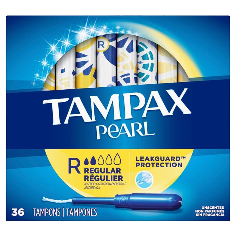 Box of Tampax Pearl tampons