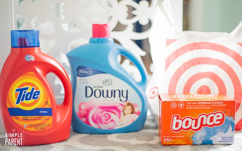 Fabric care products with a Target shopping bag