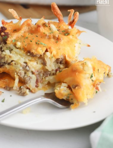 Plate of Bisquick Breakfast Casserole with a fork