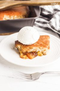Bisquick Peach Cobbler on white plate