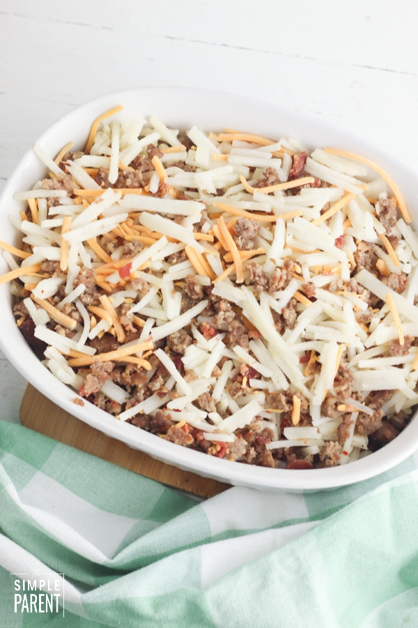 Egg sausage and hashbrown casserole in a baking dish
