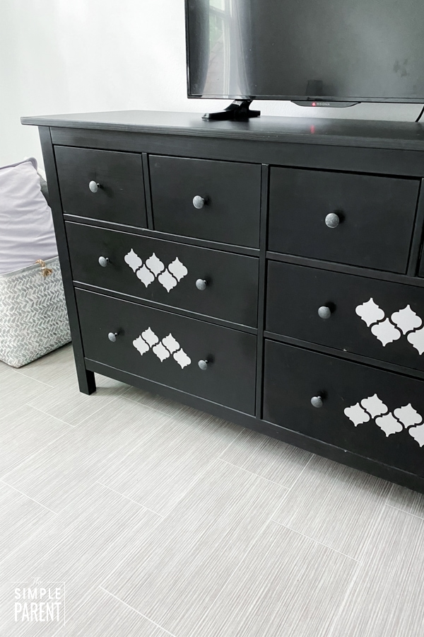 Black dresser customized with vinyl