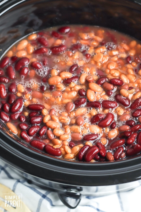 Mixed beans in a slow cooker crock