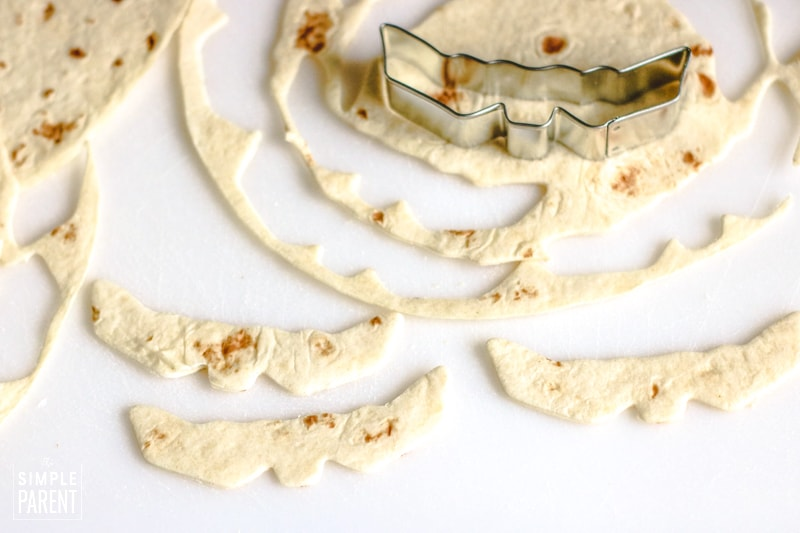Tortillas cut with bat cookie cutter