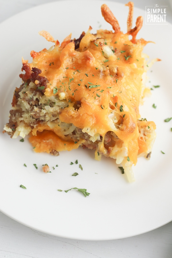 Bacon Sausage Egg Casserole on a white plate