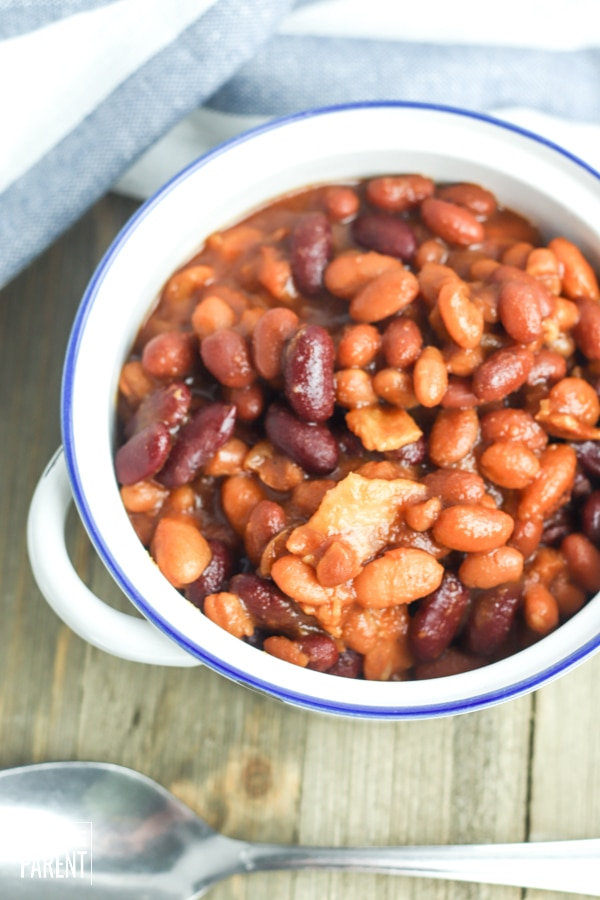 Bowl of slow cooker baked beans