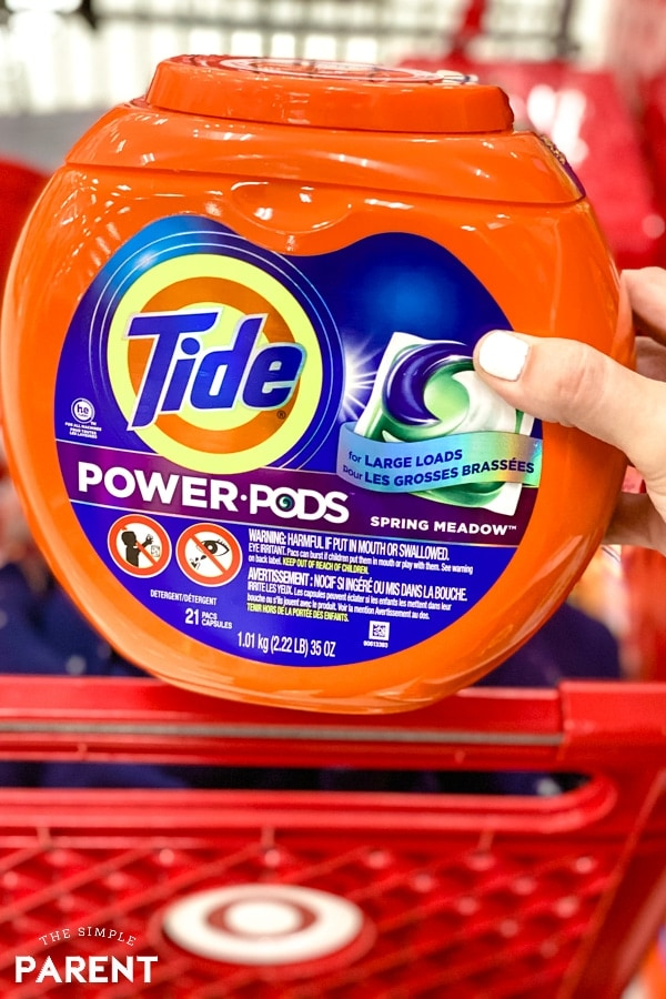 Tide Power Pods laundry detergent in a Target shopping cart