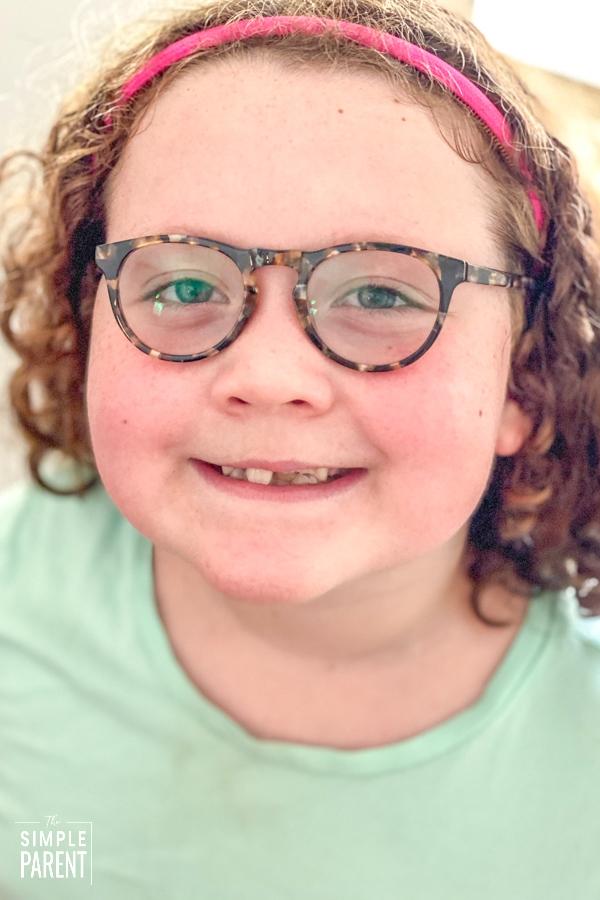 Girl wearing Zenni Optical kids glasses