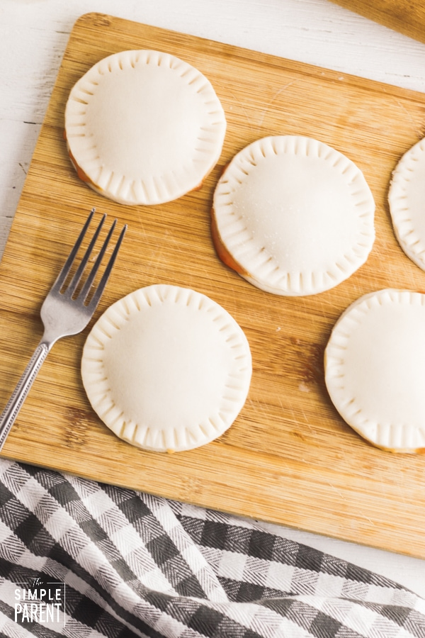 Round hand pies on cutting board