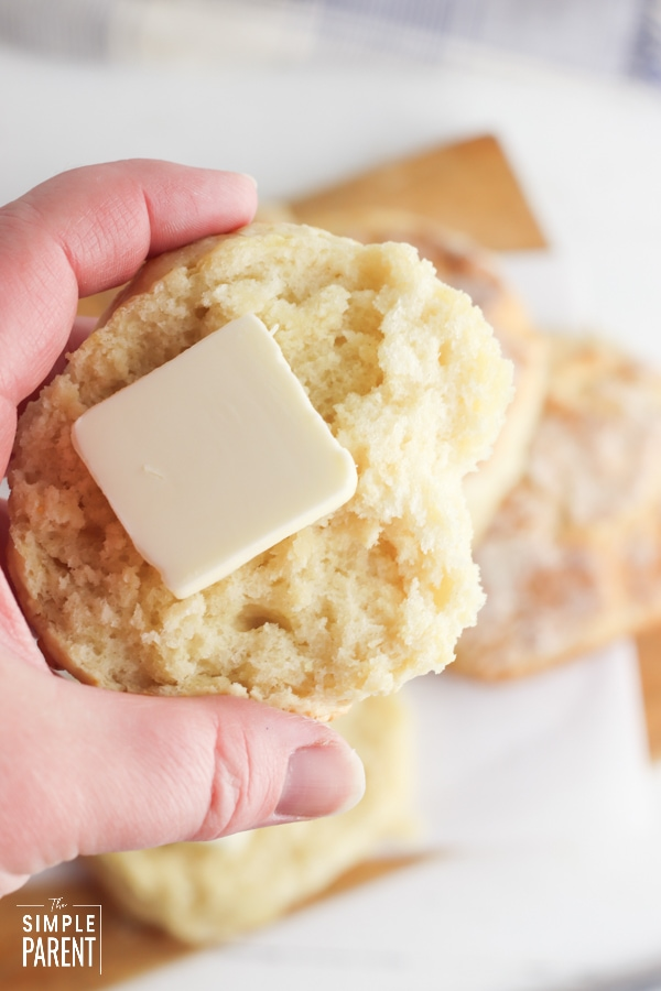 Biscuit with pat of butter