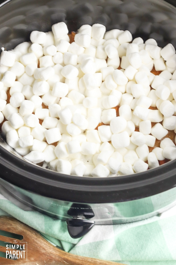 Marshmallows on top of Slow Cooker sweet potato casserole