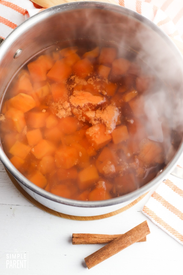 Pot of cubed yams in water