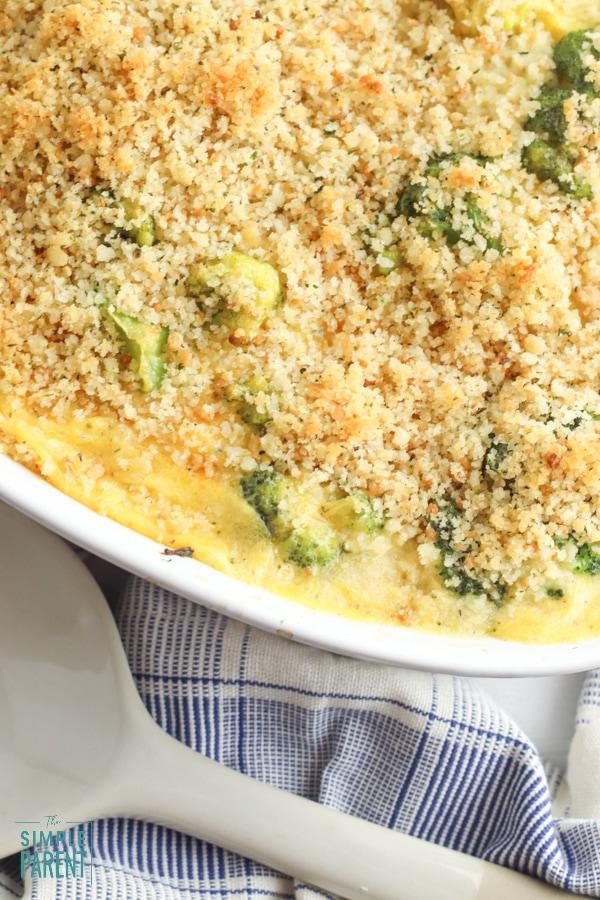 Broccoli Cheese Casserole in a white dish