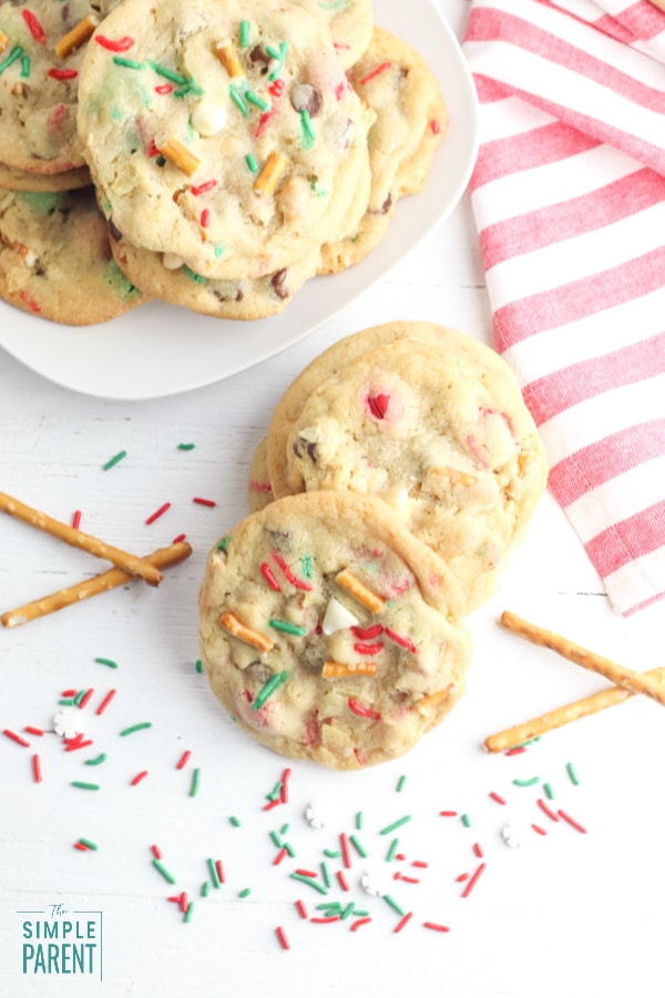 Santa's cookies with sprinkles and pretzels