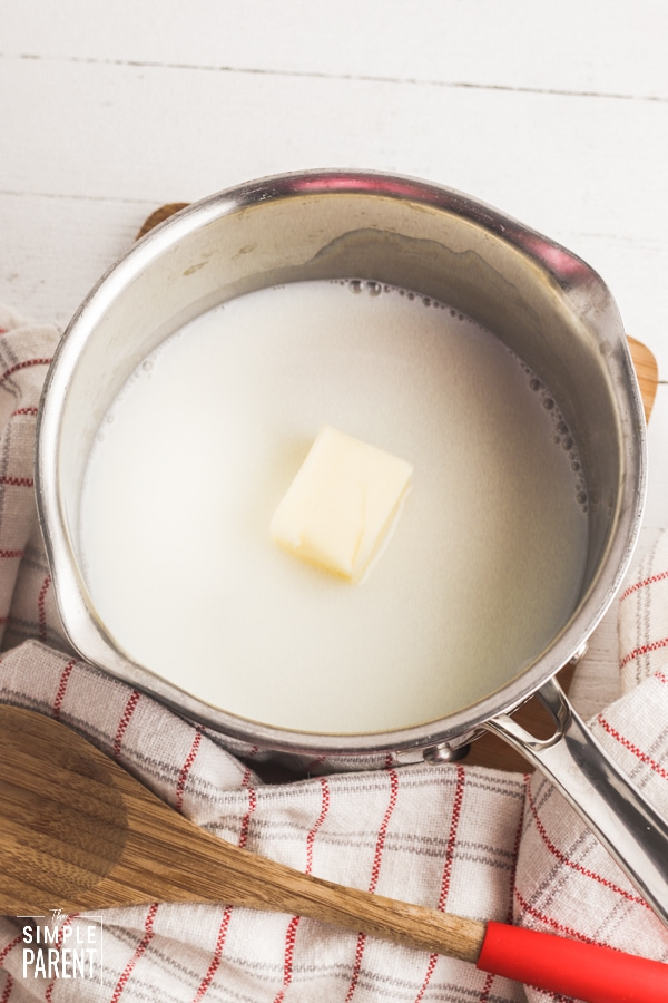 Butter and milk in a saucepan