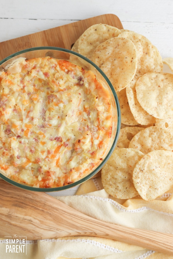 Pineapple Cream Cheese Dip with Ham and Tortilla Chips