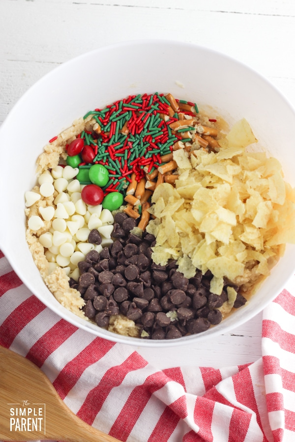 Candy and chips mix-ins for Santa garbage cookies