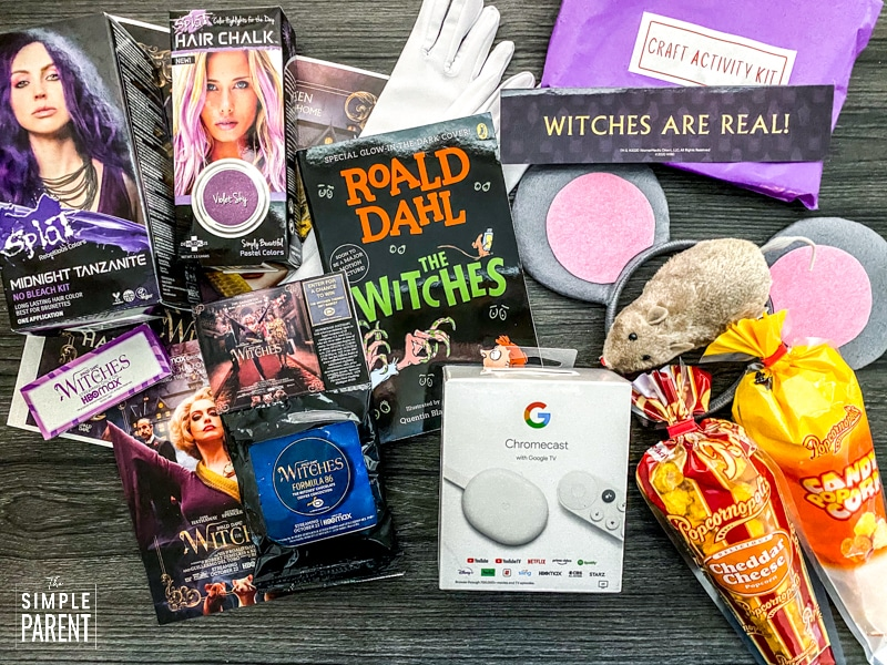 The Witches book, Google Chromecast, Popcorn, Wind up mouse toy