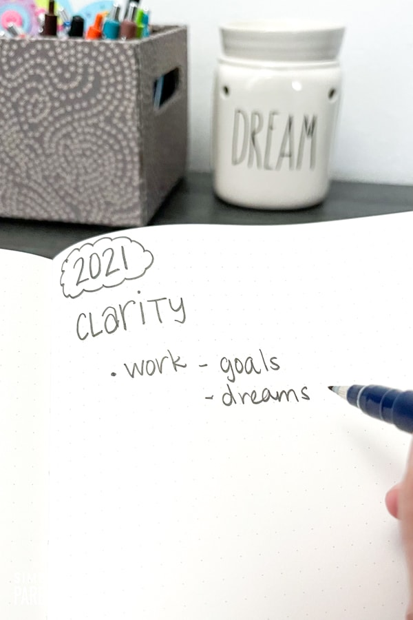 Notes about clarity in work in a notebook
