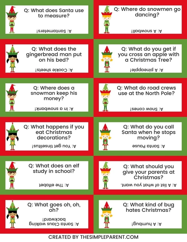 Free Printable Elf Jokes for Kids