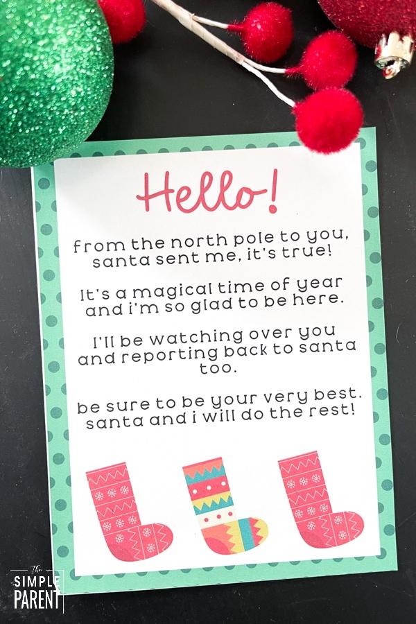 Printable Elf on the Shelf Letter