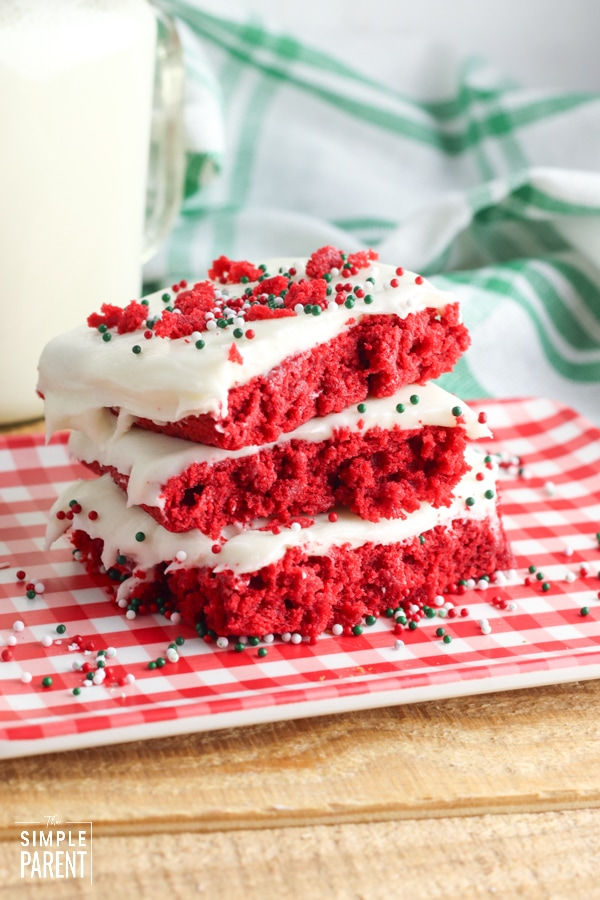 Slices of red velvet sheet cake on a plate