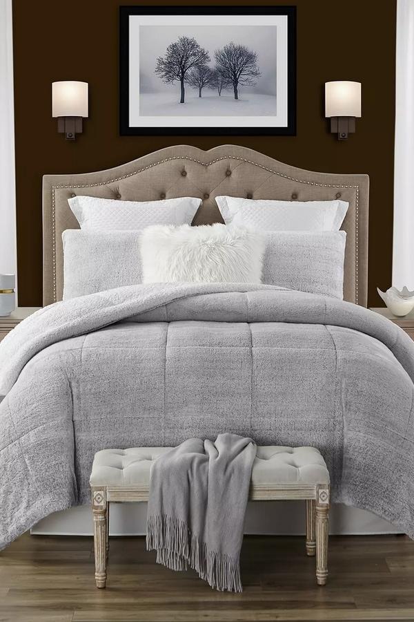 Gray Sherpa Comforter set