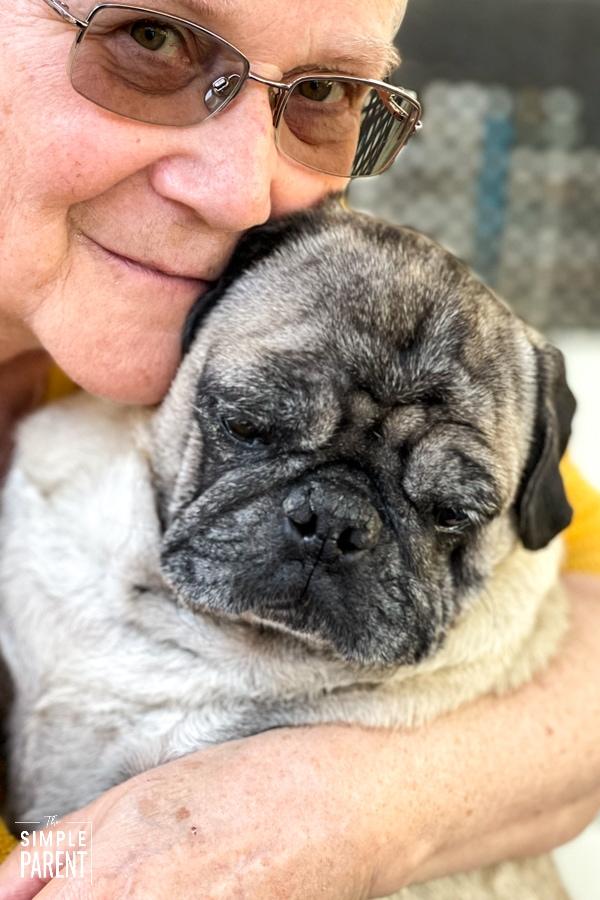 Woman with pug
