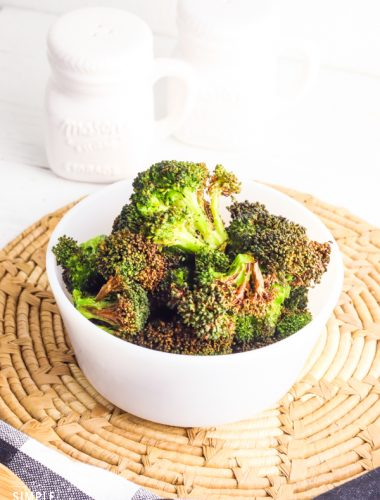 Bowl of air fried broccoli florets
