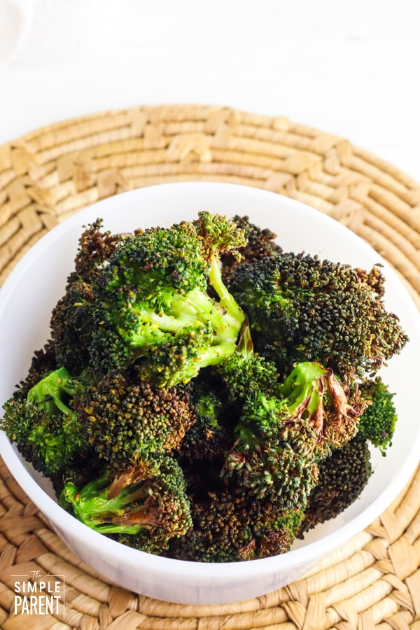 White bowl of crispy broccoli