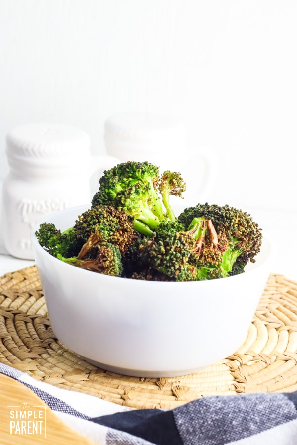 Bowl of air fried broccoli