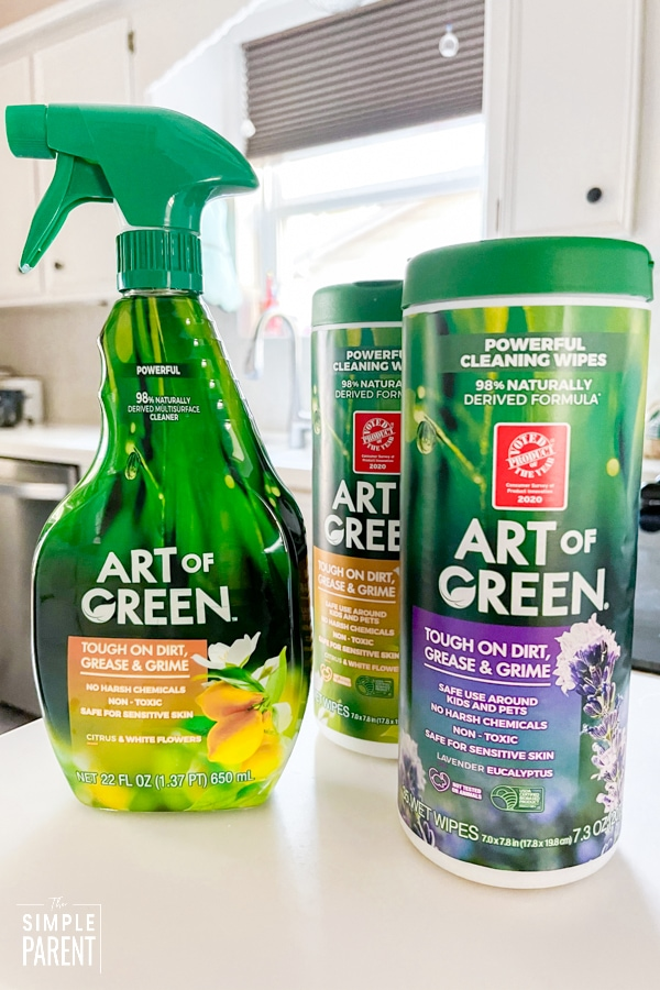 Art of Green spray and wipes on kitchen counter