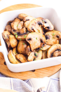 Bowl of air fryer mushrooms