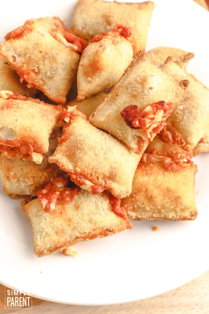 Air Fryer Pizza Rolls on white plate