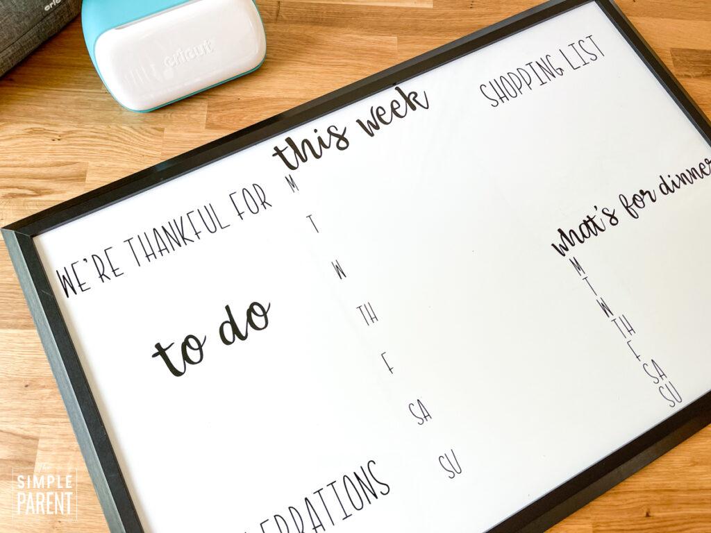DIY custom white board home command center
