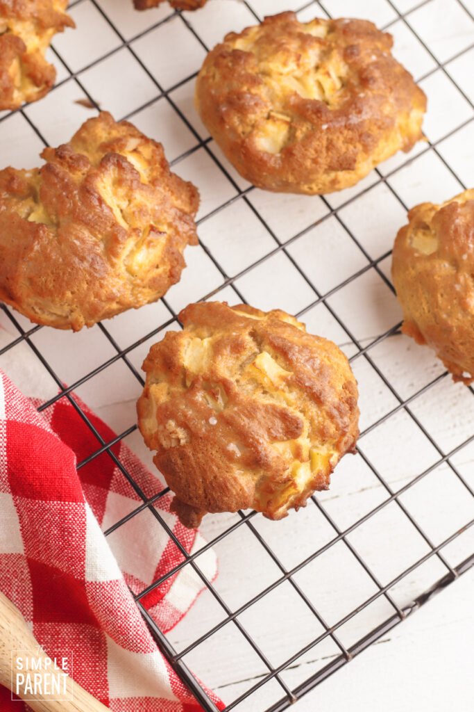 Air Fryer Apple Fritters cooling on a wire rack