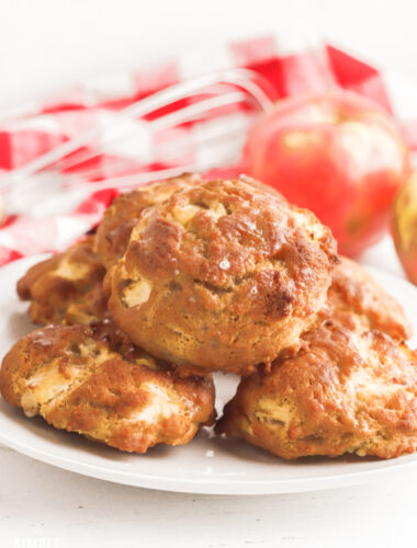 Air Fryer Apple Fritters on white plate