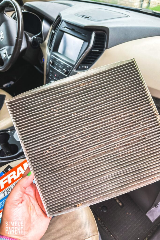 Dirty air cabin filter from car