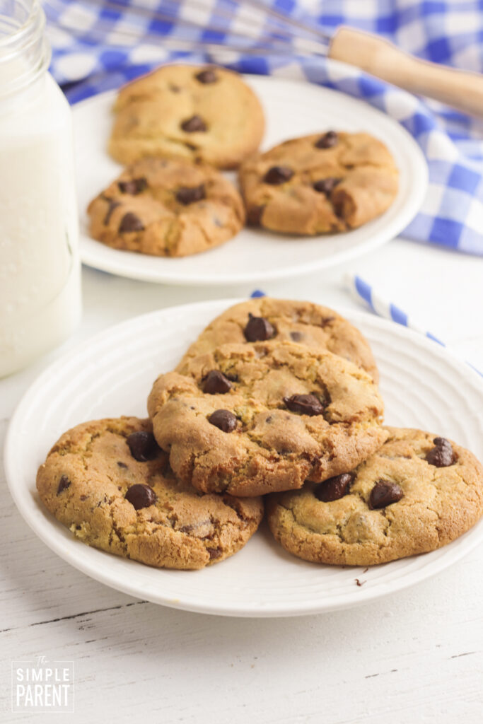 Chocolate chip cookies baked in the air fryer on a white plate