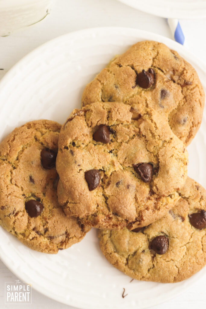 Easy Chocolate Chip Cookies on white plate