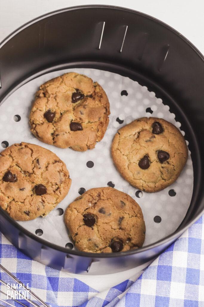 Baked cookies in air fryer basket