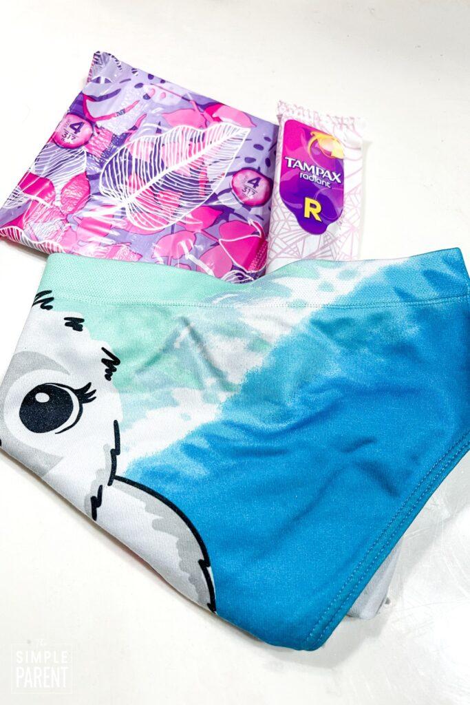 Clean underwear for Period box for tweens