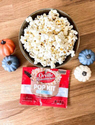 Stovetop Popcorn Kit with bowl of popcorn