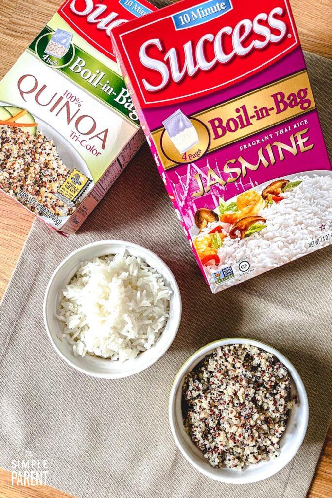 Bowls of Jasmine rice and Quinoa