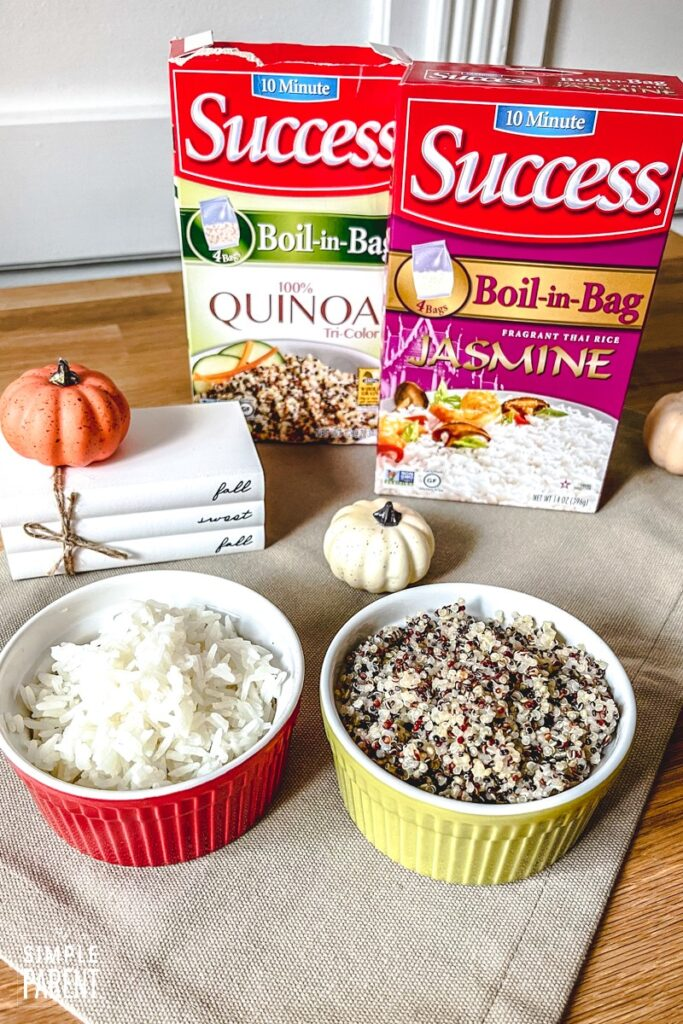 Success Boil in Bag Jasmine Rice and Quinoa in serving bowls