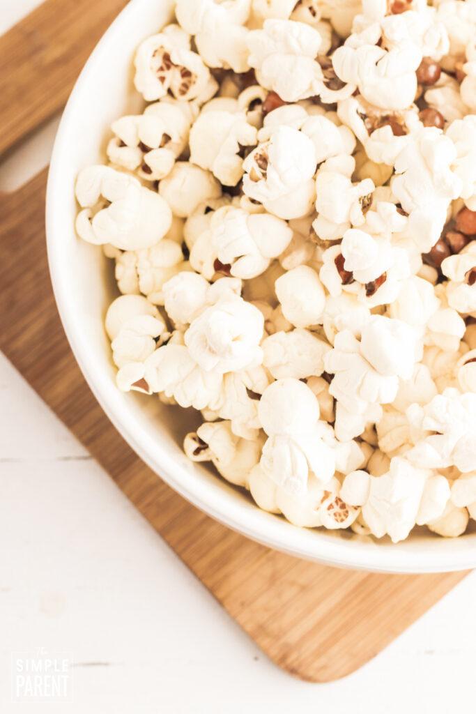 Bowl of popped popcorn